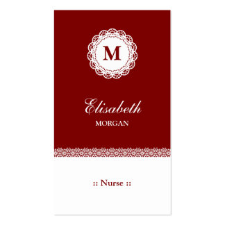 Nurse Red White Lace Monogram Pack Of Standard Business Cards