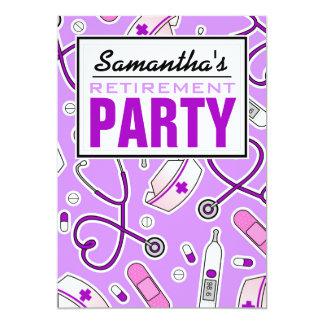 Nurse Retirement Party Purple 13 Cm X 18 Cm Invitation Card