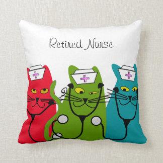 """Nurse Retirement Pillow """"Fat Cats"""""""