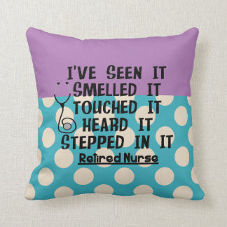 Nurse Retirement Pillow Teal Lavender Polka Dots