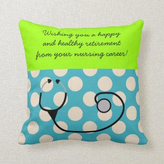 Nurse Retirement Pillow Teal Polka Dots