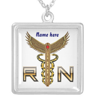 Nurse RN Cust, Edit Change Back Color Square Only Silver Plated Necklace