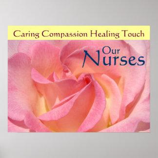 Nurse s Week posters Pink Rose Our Nurses Healing