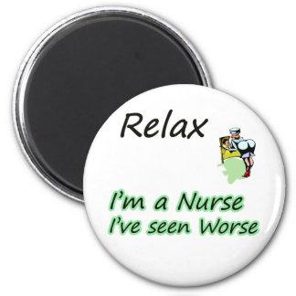 "Nurse say ""Relax"" 6 Cm Round Magnet"