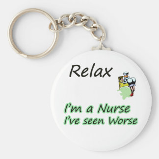 "Nurse say ""Relax"" Basic Round Button Key Ring"