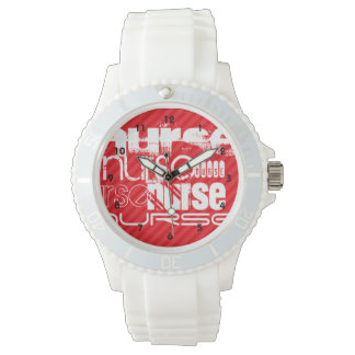 Nurse; Scarlet Red Stripes Wrist Watch
