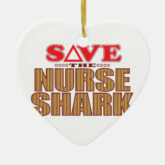 Nurse Shark Save Ceramic Heart Decoration