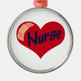 Nurse Silver-Colored Round Decoration