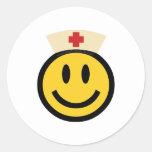 Nurse Smiley Round Sticker