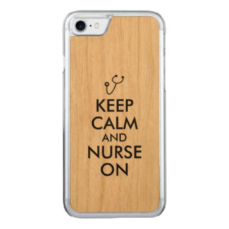 Nurse Stethoscope Keep Calm and Nurse On Carved iPhone 8/7 Case