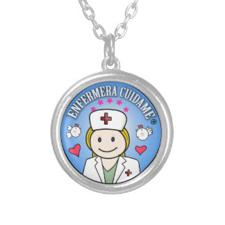 Nurse Takes care of Blond and Blue Plis to me Round Pendant Necklace