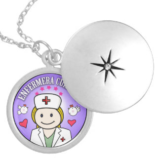 Nurse Takes care of Blond Plis and Lilac to me Round Locket Necklace