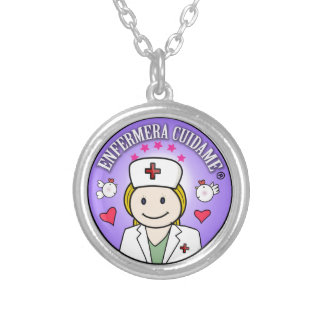 Nurse Takes care of Blond Plis and Lilac to me Round Pendant Necklace