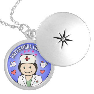 Nurse Takes care of to me Brown and Blue Round Locket Necklace