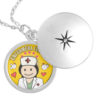 Nurse Takes care of to me Brown and Yellow Round Locket Necklace