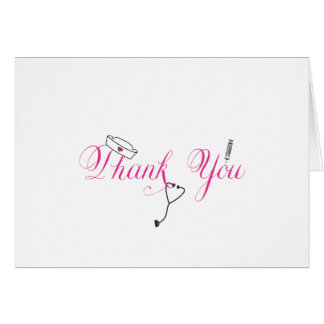 Nurse Thank You Note Hot Pink Hand Calligraphy RN Note Card