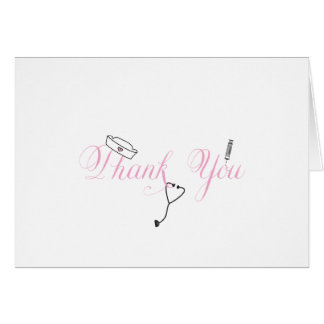 Nurse Thank You Note Pink Hand Calligraphy RN Note Card