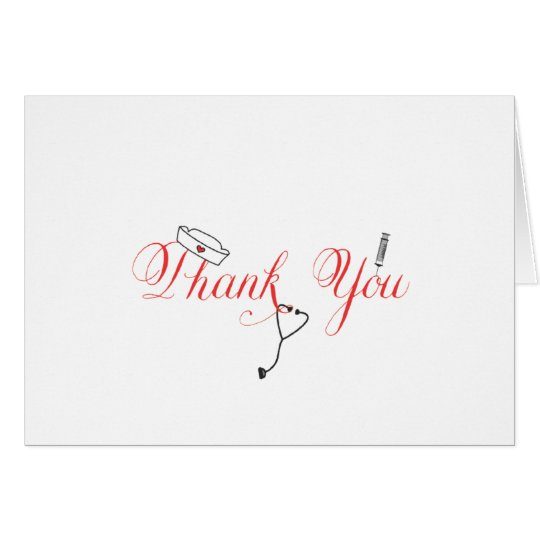 Nurse Thank You Note Red Hand Calligraphy RN