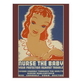 Nurse the Baby WPA Poster Postcard