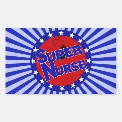 NURSE THUMBS UP SUPER NURSE PATRIOTIC RECTANGULAR STICKERS