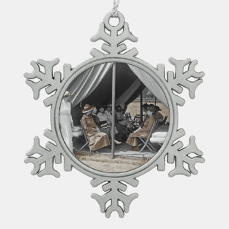 Nurse Trainees Sitting in a Tent Pewter Snowflake Decoration