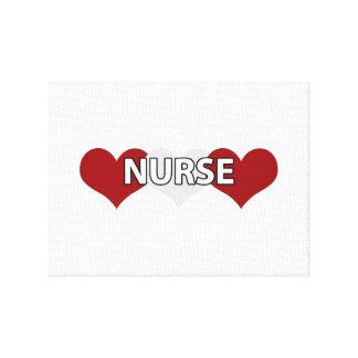 Nurse Triple Heart Gallery Wrapped Canvas