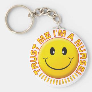 Nurse Trust Me Smiley Key Ring
