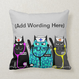 Nurse Whimsical Cat Pillow (Name Add)