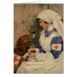 Nurse with Golden Retriever 1917 Greeting Cards