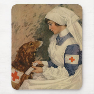 Nurse with Golden Retriever 1917 Vintage WW1 Mouse Mat