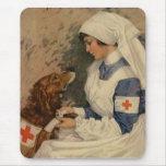 Nurse with Golden Retriever 1917 WW1 Mouse Pad