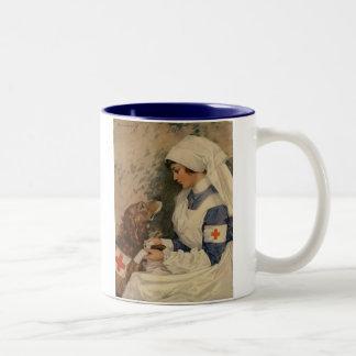 Nurse with Golden Retriever 1917 WW1 Vintage Two-Tone Mug