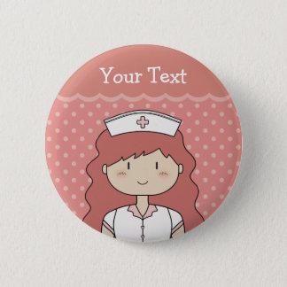 Nurse with red hair 6 cm round badge