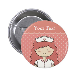 Nurse with red hair 6 cm round badge