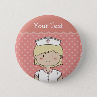 Nurse with short blonde hair 6 cm round badge