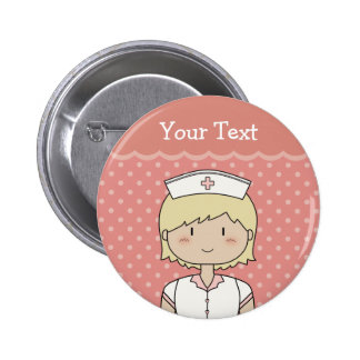Nurse with short blonde hair 6 cm round badge