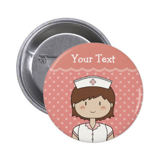 Nurse with short brown hair 6 cm round badge