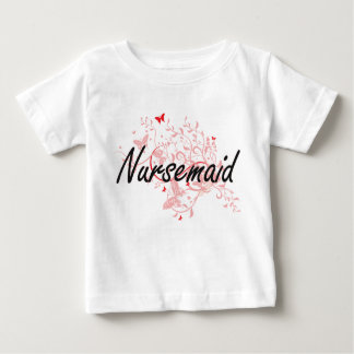 Nursemaid Artistic Job Design with Butterflies T Shirts