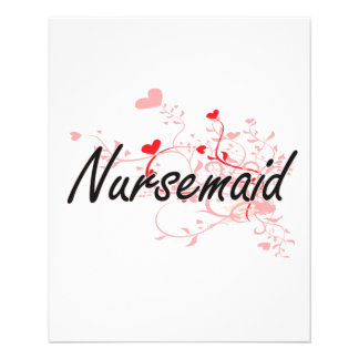 Nursemaid Artistic Job Design with Hearts 11.5 Cm X 14 Cm Flyer