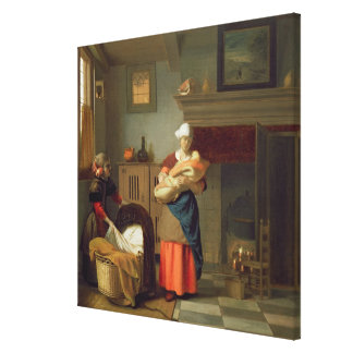 Nursemaid with baby in an interior canvas print