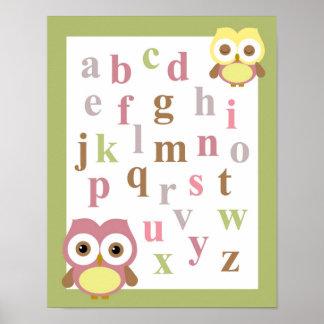 Nursery alphabet baby girl owl wall art poster