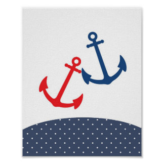 Nursery anchor illustration for nautical themes poster
