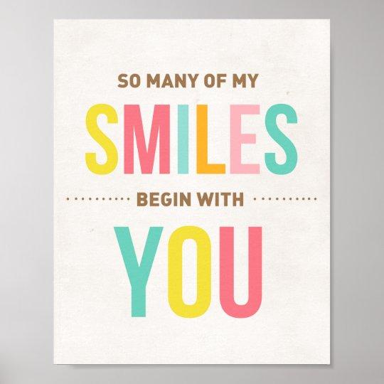 Nursery art print Inspirational quote Smiles