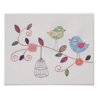 Nursery collage art little birdies poster