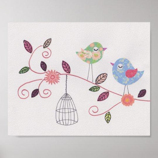 Nursery collage art little birdies poster