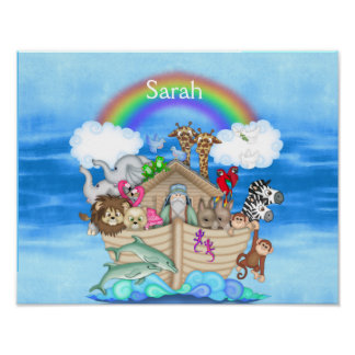NURSERY CUSTOM  Noahs Ark  RAINBOW MURAL Poster