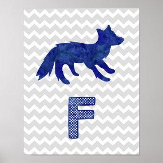 Nursery Decor Blue Fox Letter F Grey Chevron Poster
