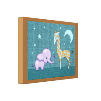 Nursery Decor Elephant and Giraffe Wrapped Canvas Stretched Canvas Print