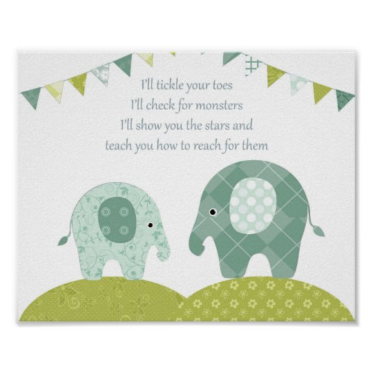 Nursery elephant boy wall art