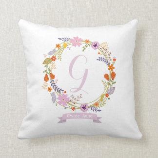 Nursery Girl Decorative Throw Pillow Pink Flowers